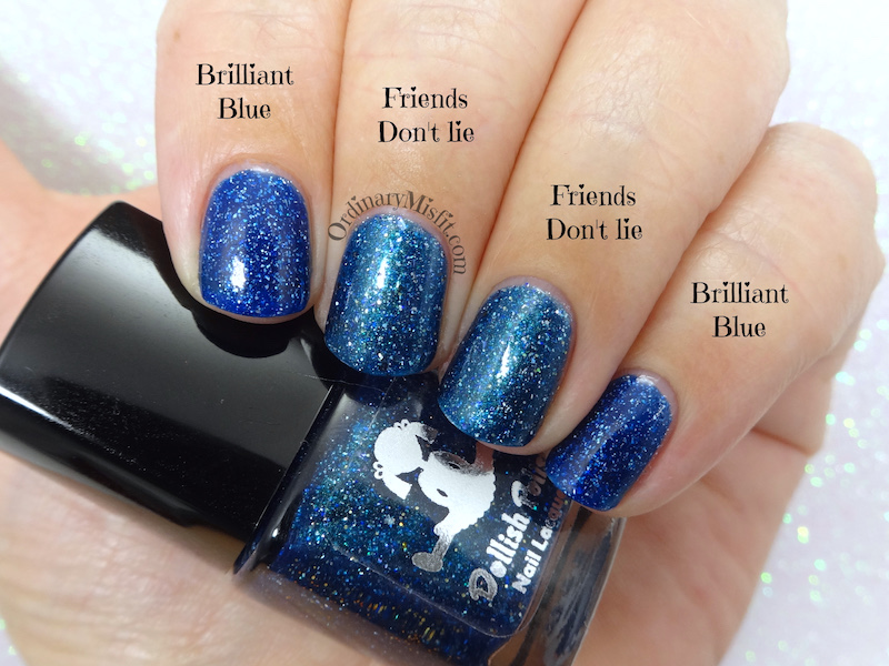 Comparison - Dollish Polish - friends don't lie vs LA Girl - Brilliant blue