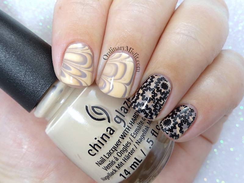 Stamped Latte marble nail art – OrdinaryMisfit