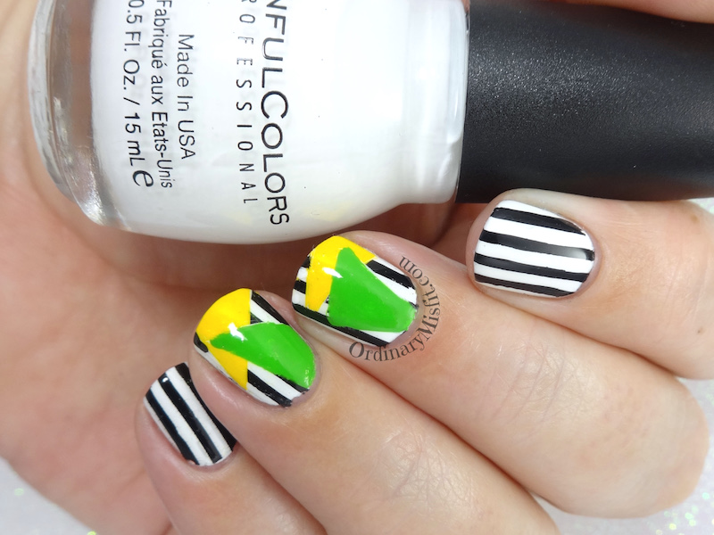Colour block and stripes nail art