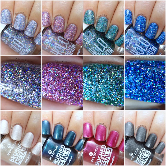 Essence range updates 2017 The Brushed metals 7 The holo rainbows collage