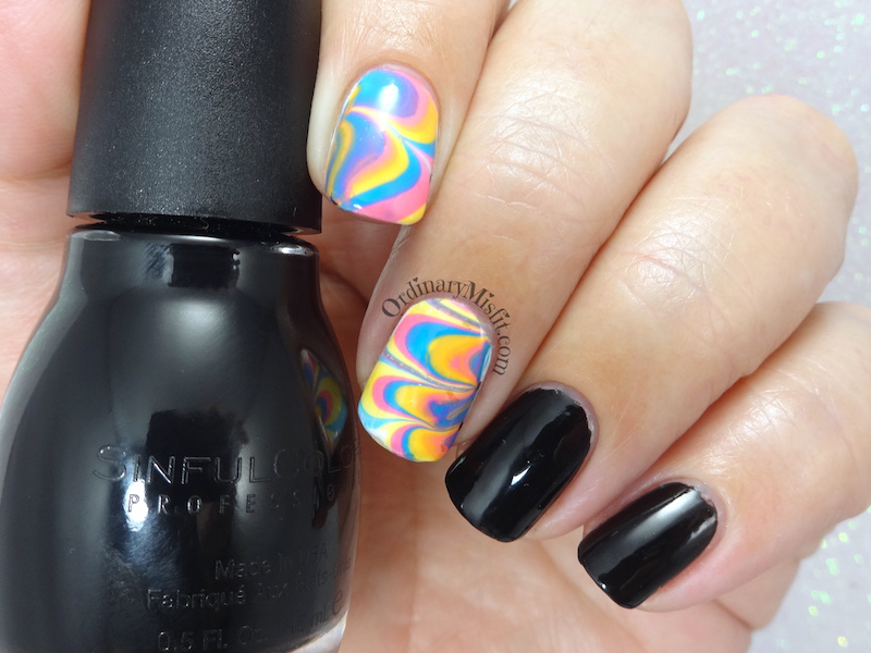 52week challenge - water marble nail art