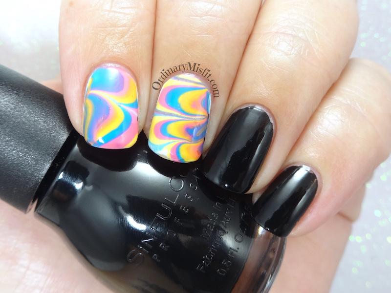 52week challenge - water marble nail art
