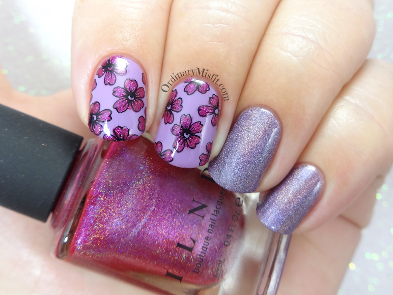 52weekchallenge - Pink and pruple nail art