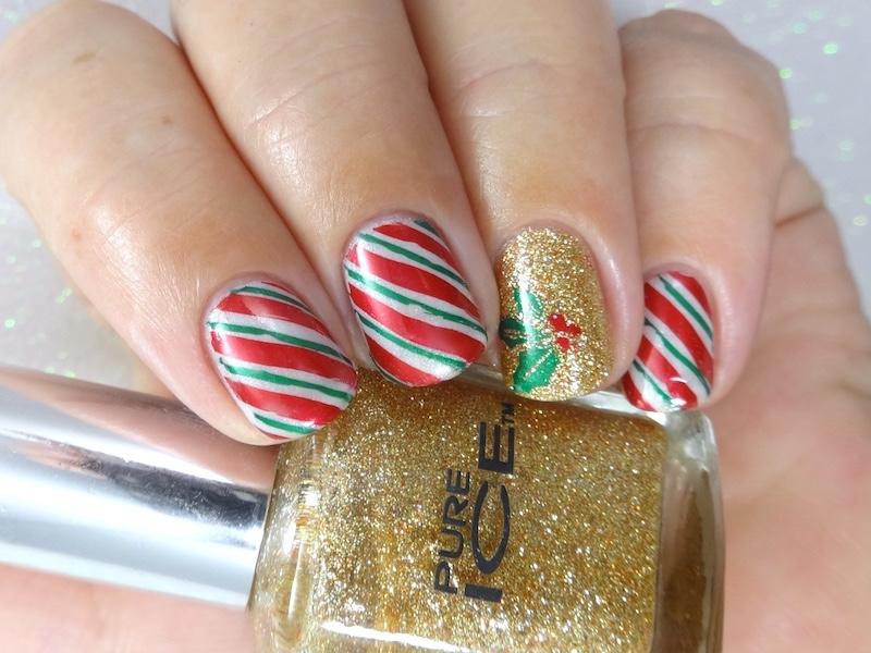 52 week nail art challenge week 52 christmas ordinarymisfit candy canes mistletoe christmas nail art prinsesfo Choice Image