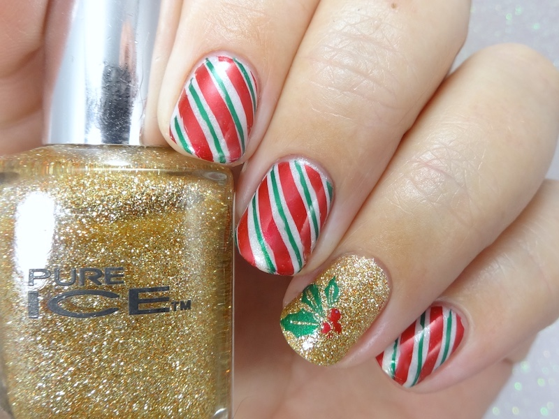 Candy canes & mistletoe christmas nail art