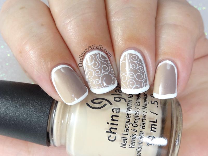 Nudes and swirls nail art