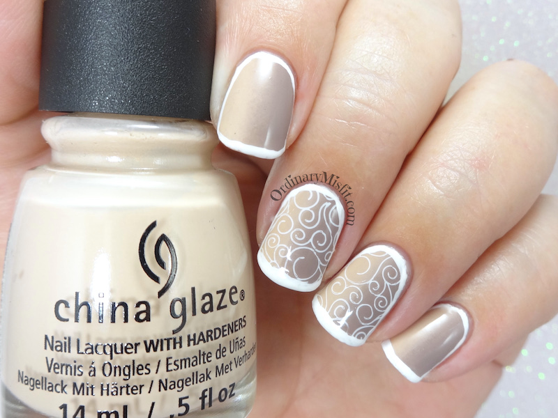 Nudes and swirls nail art
