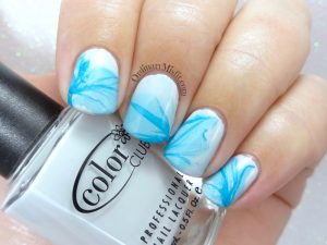 Marbled veil nail art