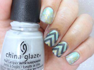 Chevron and splatters nail art