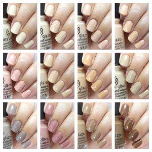 China Glaze - Shades of nude collage