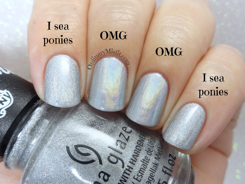 Comparison - CHina Glaze - OMG vs China Glaze - I sea ponies