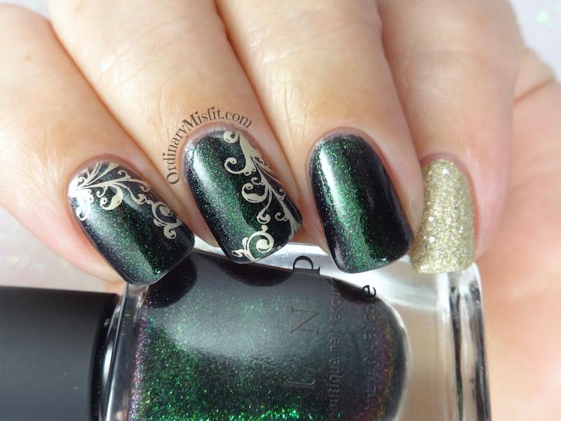 Green and gold swirls