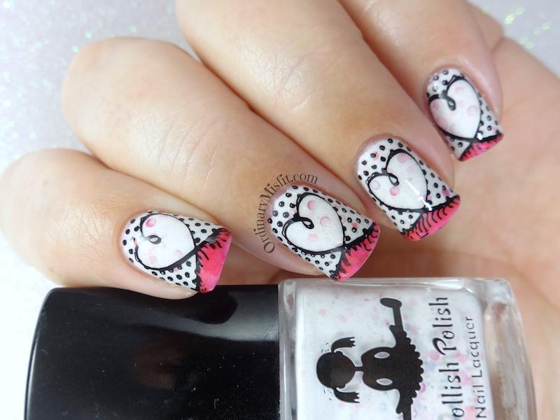 I heart pink art nail art