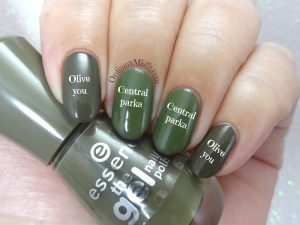 Comparison Essnce - Olive you vs China Glaze - Central parka 2