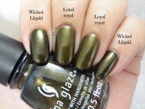 Comparison Essence - Loyal Royal vs China Glaze - Wicked liquid