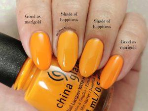 Comparison China Glaze - Good as marigold vs Essence - Shade of happiness