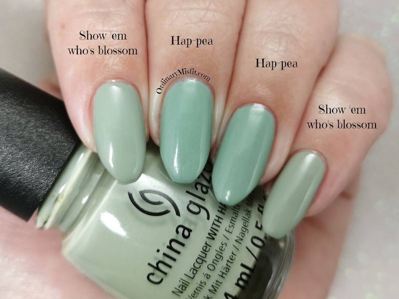 Comparison China Glaze - Show 'em who's blossom vs Tip Top - Hap-pea