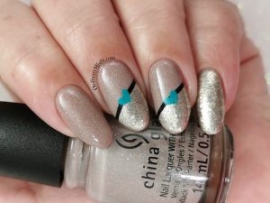 Stripes and hearts nail art