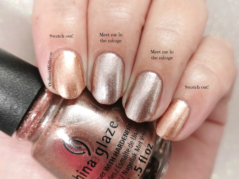 Comparison China Glaze - Meet me in the mirage vs China Glaze - Swatch out!