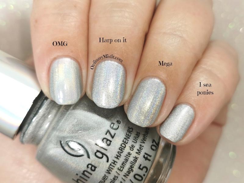 Comparison Color club - Harp on it vs China Glaze - OMG vs ILNP - Mega vs China Glaze - I sea ponies