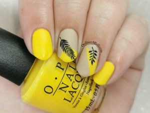 Yellow and nude nail art