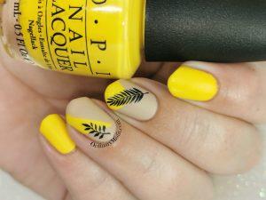 Yellow and nude nail art