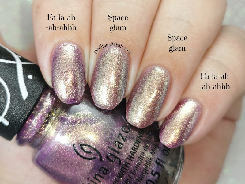 Comparison - China Glaze - Fa-la-ah-ah-ahhh vs Essence - Space glam