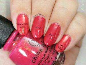 Comparison- China Glaze - Strawberry fields vs China Glaze - Ahoy