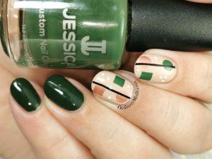 Green shapes nail art